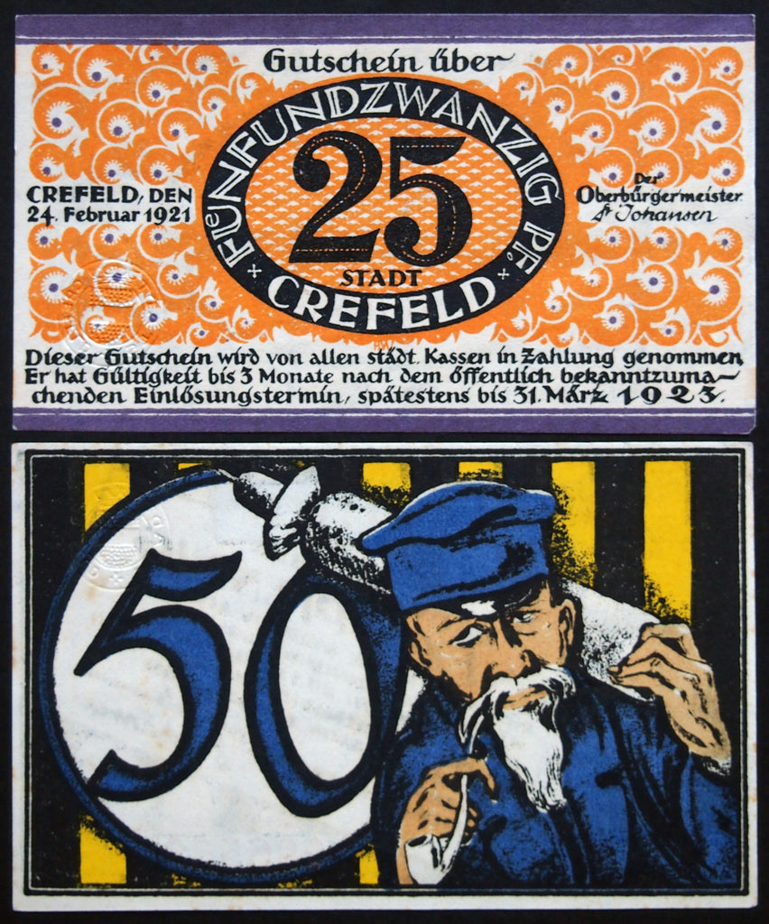 "CREFELD 1921 ""Pipe-Smoking Bearded Silk Weaver"" complete series German Notgeld"