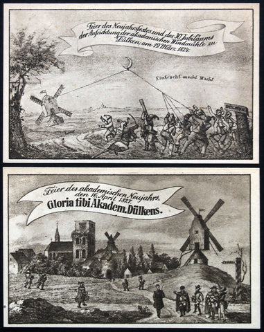 "DÜLKEN 1920 ""Windmill Raising"" complete series German Notgeld"