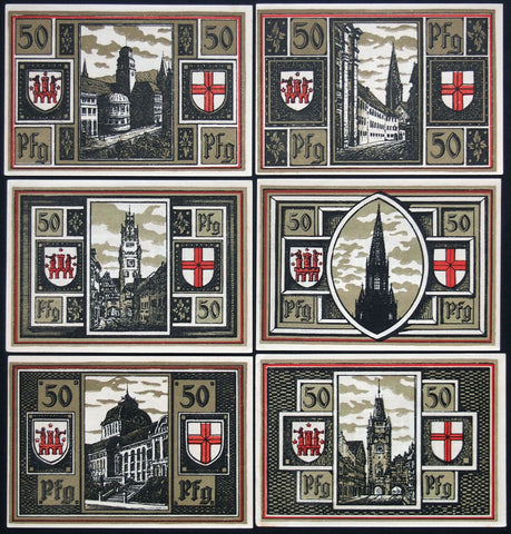 "FREIBURG 1921 ""Architectural Highlights"" matching serial complete set German Notgeld"