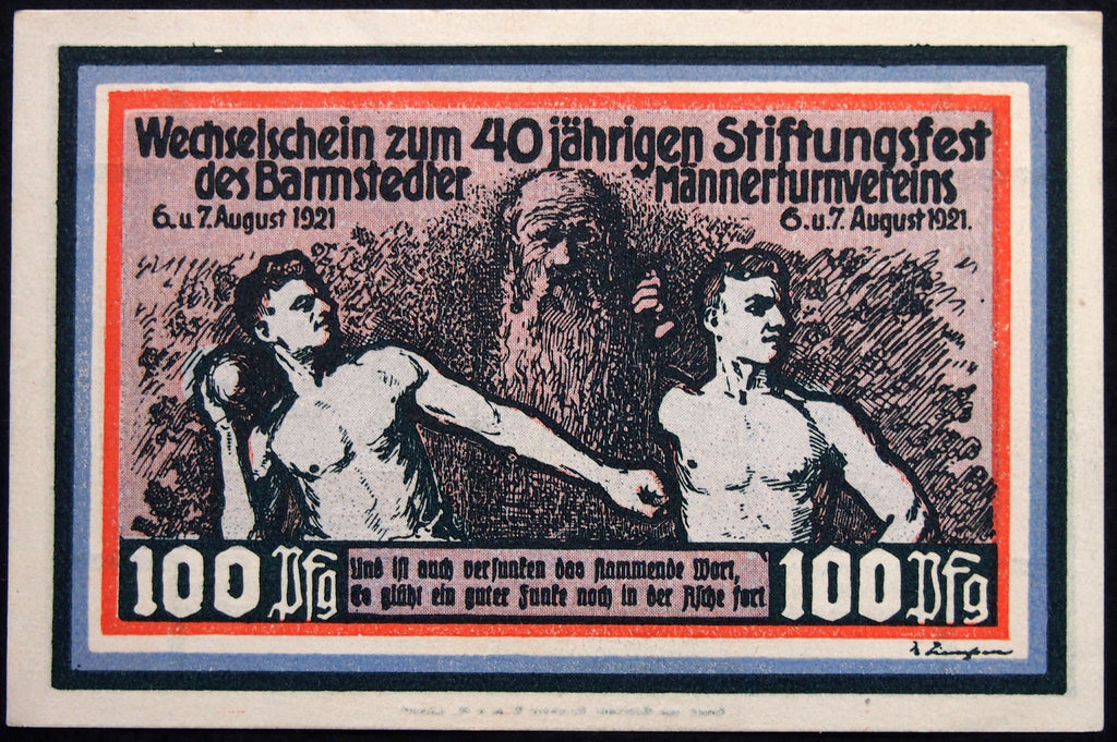 "BARMSTEDT ""Mens' Gymnastic Club 40th Anniv."" *RARE* 100 Pfennig German Notgeld"