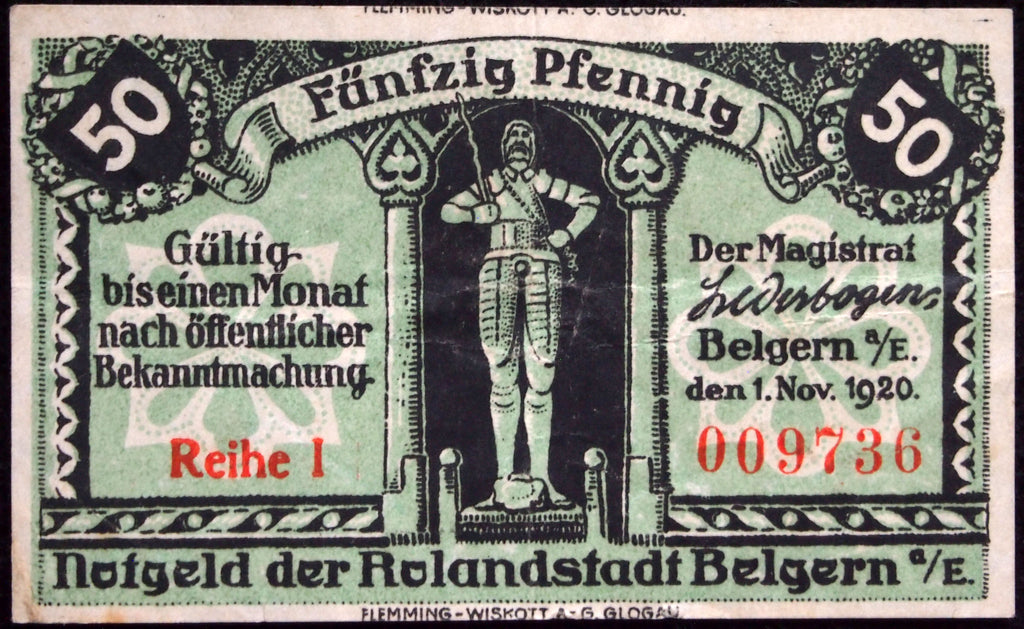 "BELGERN 1920 ""Roland Statue"" 50 Pf circulating German Notgeld"