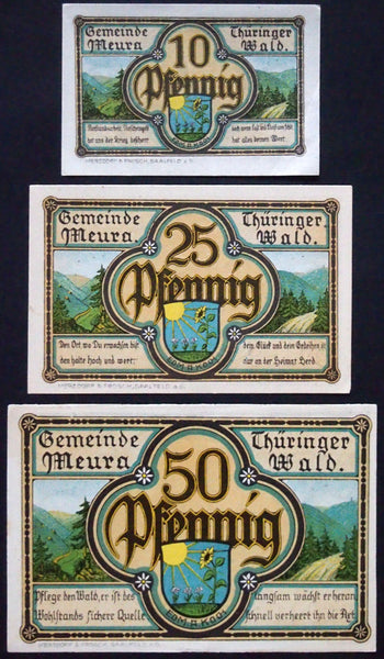 "MEURA 1921 ""Thüringen Forest"" complete series low serial! German Notgeld"