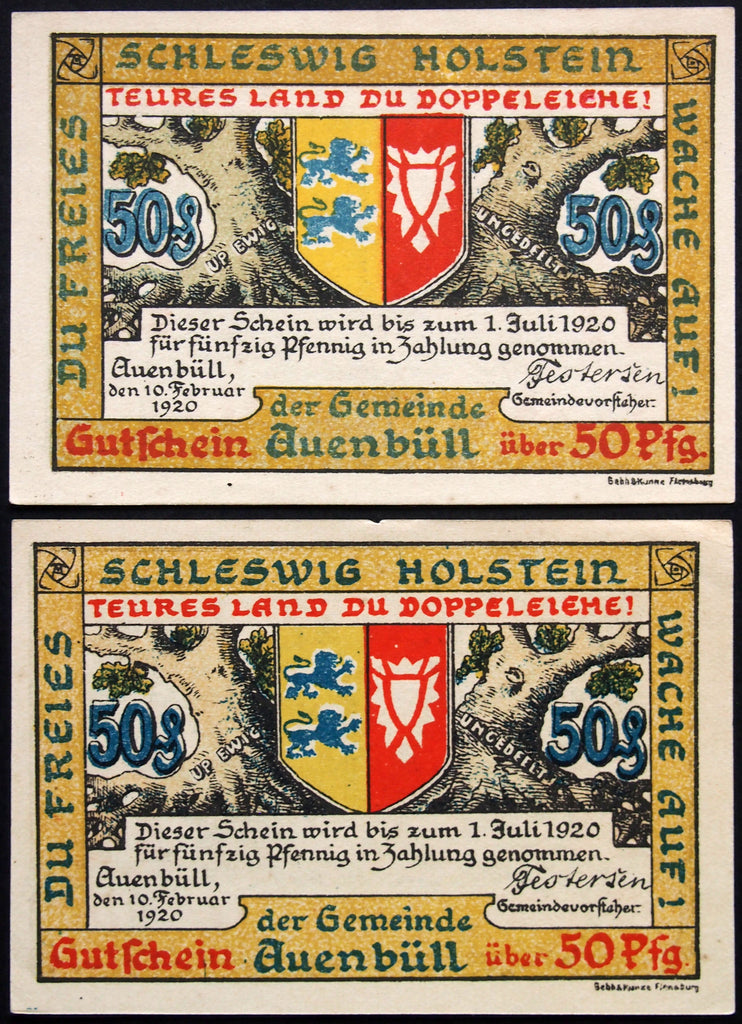 "AUENBÜLL 1920 2 color variants! ""Plebiscite Note"" blue lion 50 Pf German Notgeld Denmark"