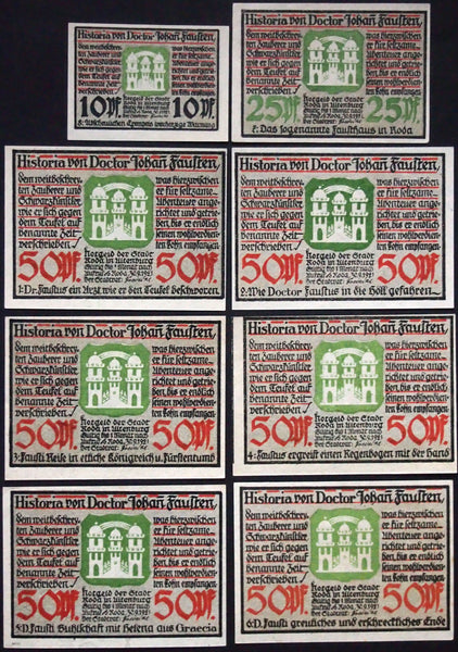 Greatest Notgeld Series ever! 1921 Dr. Faust series complete set Germany