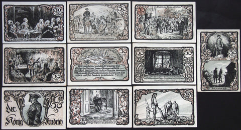 "FREIDRICHSBRUNN 1921 ""Frederick the Great"" complete series German Notgeld"