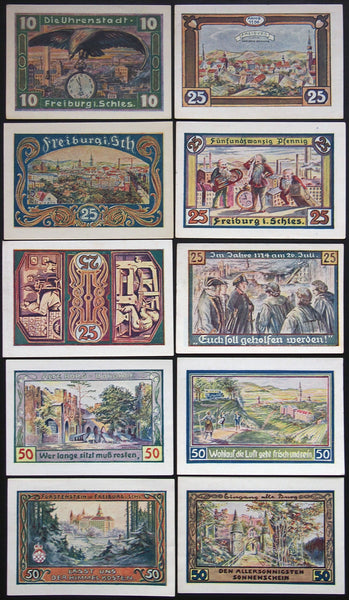 "FREIBURG 1921 ""The Clock City"" complete series Schlesien German Notgeld today Poland"