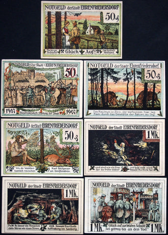 EHRENFRIEDERSDORF 1921 beautiful full-color complete set! German Notgeld