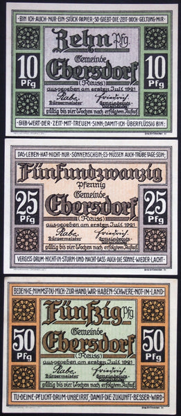 "EBERSDORF 1921 ""German Mother Remembers Fallen Sons"" complete Germany Notgeld"