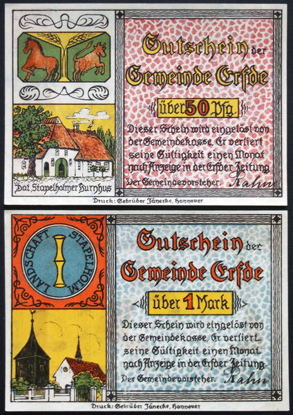 "ERFDE 1921 ""Bride Dance"" complete Low German series Notgeld"