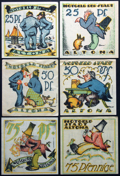 "ALTONA 1921 ""Cartoon Caricatures"" complete series German Notgeld Hamburg"