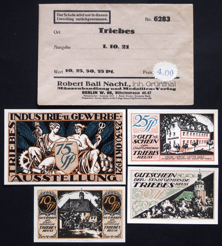 "TRIEBES 1921 ""Industry & Trade Exhibition"" complete + RARE Robert Ball Envelope! German Notgeld"