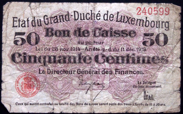 LUXEMBOURG 1918 50 Centimes smaller fractional banknote P-26 Luxemburg
