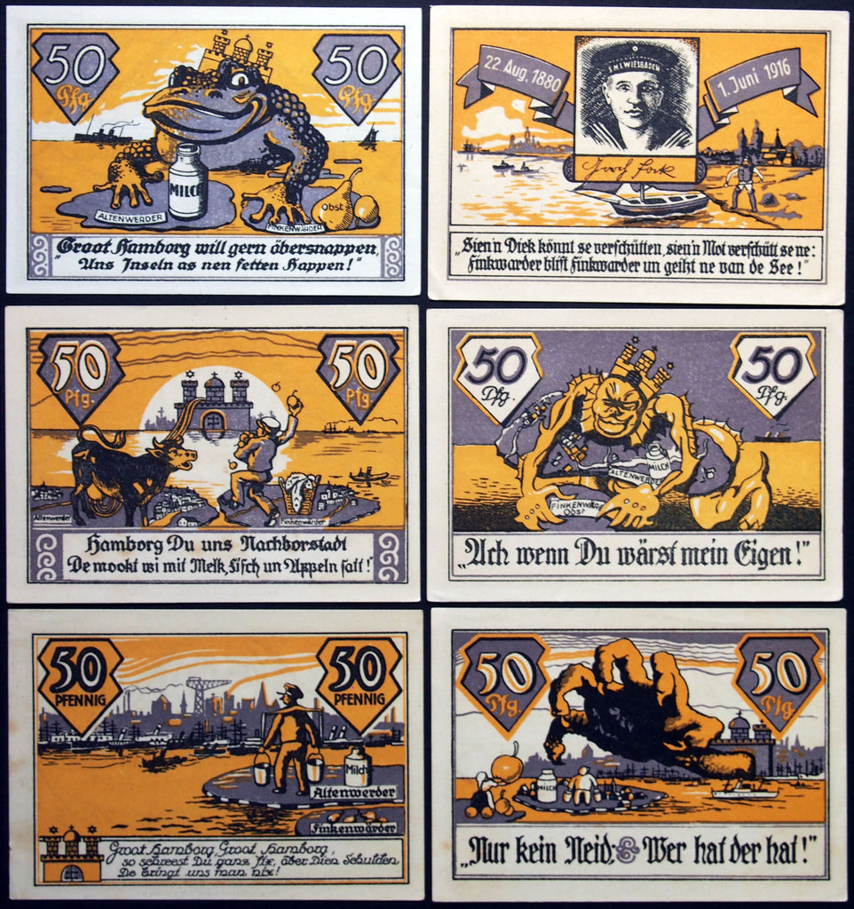 "ALTENWERDER and FINKENWÄRDER 1921 ""Frog King Hamburg"" complete German Notgeld series"