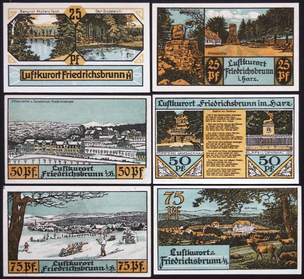 "FRIEDRICHSBRUNN 1921 *rare* w/o ""C.S."" initials! Harz Mountains complete Notgeld Germany"