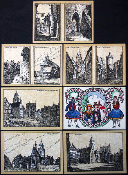 "ALSFELD 1922 ""City Architectural Sketches, Women in Tracht"" complete rare series German Notgeld"
