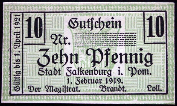 FALKENBURG 1919 *SPECIMEN* 10 Pf no serial! Notgeld Germany today Poland Muster