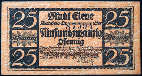 CLEVE 1920 25 Pf circulating Notgeld Germany
