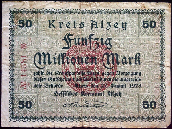 ALZEY 1923 50 Million Mark Inflation Notgeld German Banknote Hessen