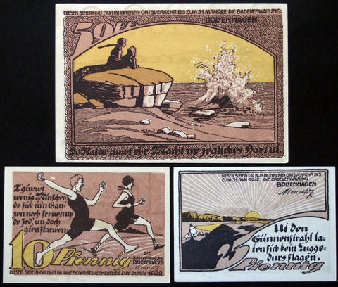"BOLTENHAGEN 1922 ""Old-Fashioned Swimsuits"" complete Reutergeld series German Notgeld"