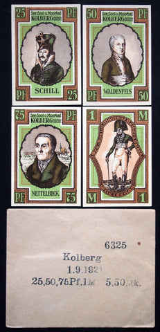 KOLBERG 1921 complete series + RARE Robert Ball envelope! German Notgeld today Poland