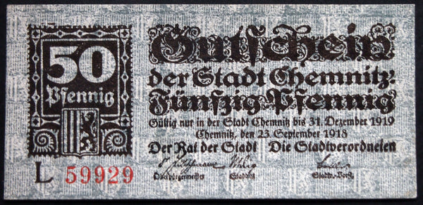 CHEMNITZ 1918 50 Pf Series L circulating German Notgeld