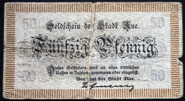 AUE ND-1918 50 Pf circulating Notgeld Germany