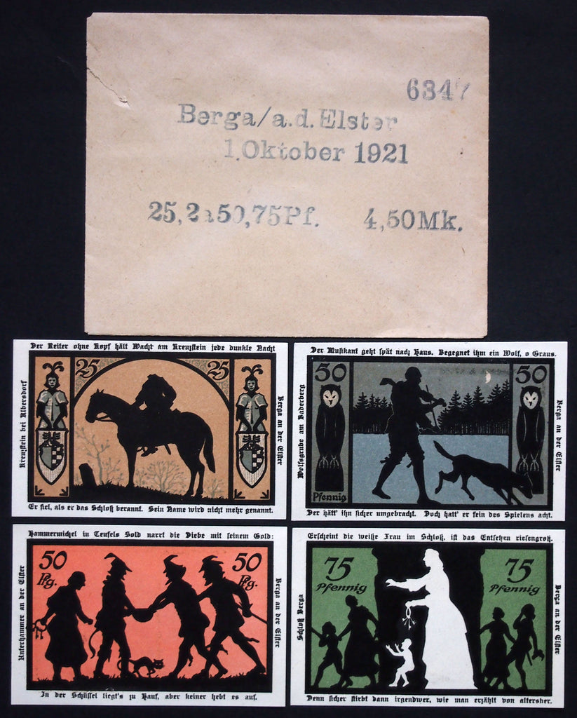 "BERGA 1921 ""Ghost Legends"" complete + RARE Robert Ball envelope! German Notgeld"