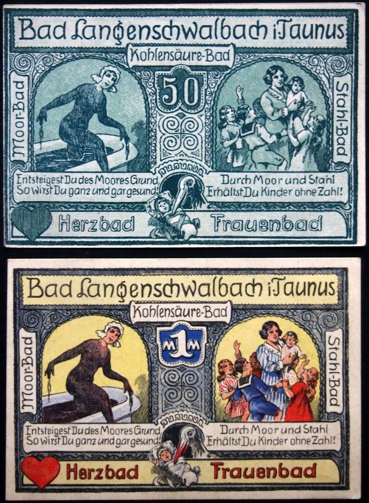 "BAD LANGENSCHWALBACH ""Fertility Mudbath"" 1920 Germany Notgeld 50 Pf. + 1 Mark"