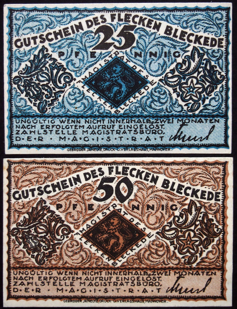 BLECKEDE 1920 complete set circulating Notgeld Germany