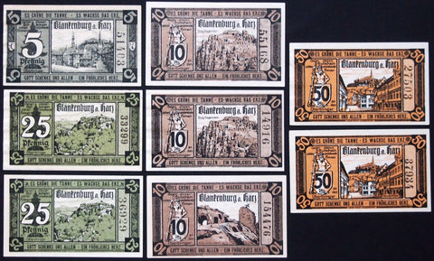 "BLANKENBURG 1920 ""Witch on Broomstick"" complete + variants! German Notgeld"