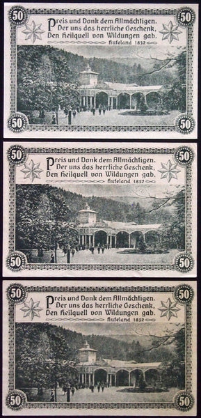 "3pcs consecutive BAD WILDUNGEN 1921 ""Healing Spring"" 50 Pf German Notgeld"