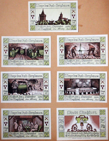 STASSFURT Uncataloged Test Prints Beyond Specimen! complete 6x25 Pf set German Notgeld