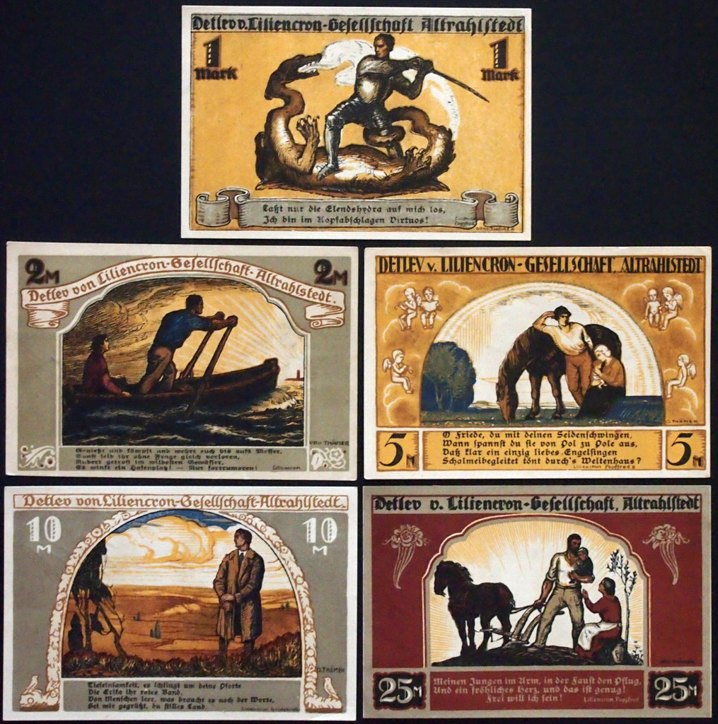 ALTRAHLSTEDT 1922 complete overprint set large-size German Notgeld early Inflation