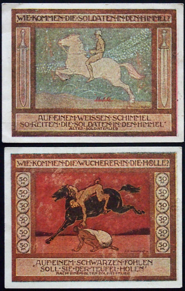 "ANSBACH 1918 ""Soldiers to Heaven, Usurers to Hell"" complete set Notgeld Germany"