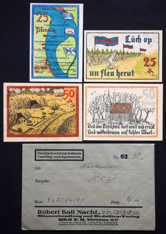 NORDENHAM 1921 complete series + RARE Robert Ball envelope! German Notgeld