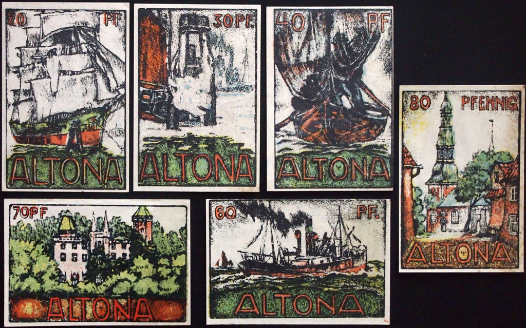 "ALTONA 1921 ""Charcoal Sketches"" complete drop watermark German Notgeld series"