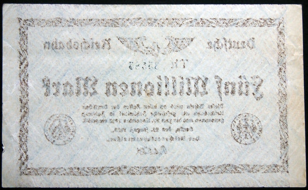 BERLIN REICHSBAHN 1923 5 Million Mark S1013 Railroad Inflation Notgeld Banknote Germany