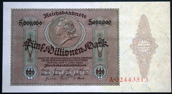 GERMANY 1923 AUNC++! 5 Million Mark P-90 Rarer Inflation Banknote Germany