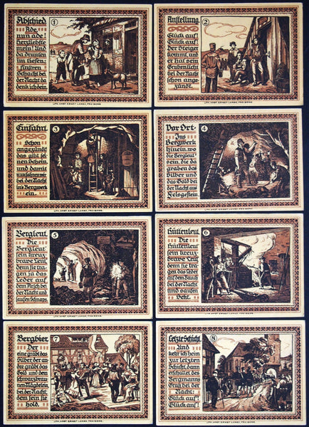 "FREIBERG 1921 ""Mining Life"" complete series Germany Notgeld Mountain Beer"