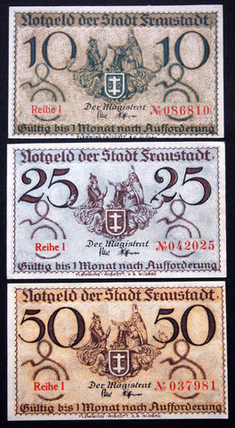 FRAUSTADT complete set circulating Notgeld Germany today Wschowa Poland