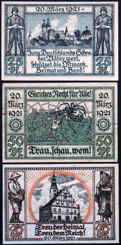 "OBERGLOGAU 1921 ""Oppersdorf Spider"" complete series Notgeld Germany Poland"