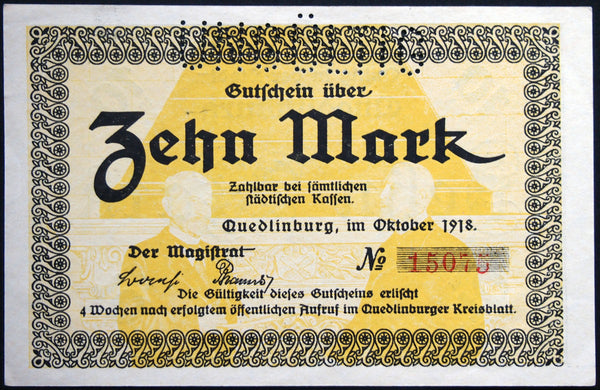QUEDLINBURG 1918 10 Mark Grossnotgeld German Notgeld Banknote