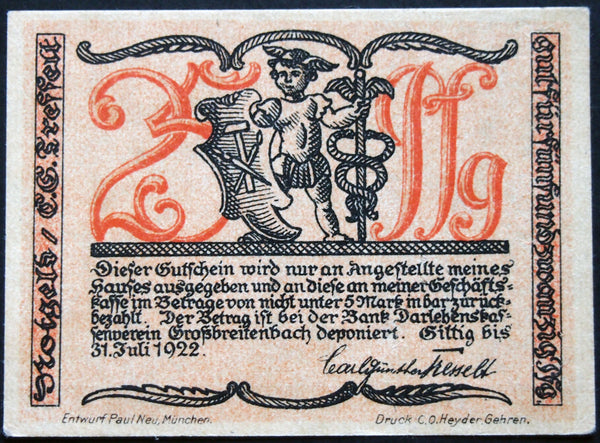 GROSSBREITENBACH 1921 *UNCATALOGED SPECIMEN* 25 Pf no serial! German Notgeld