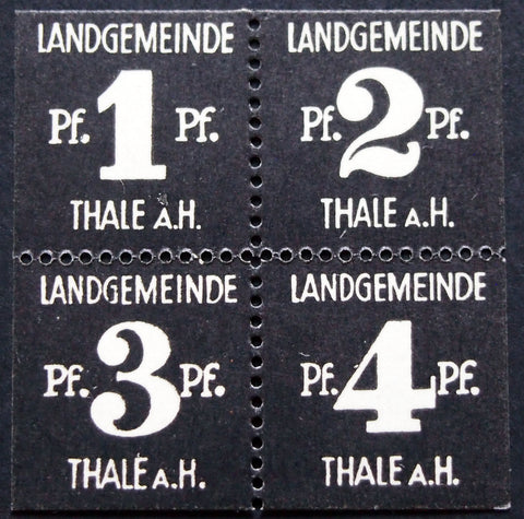 THALE 1921 1+2+3+4 Pf uncut block, rare small, thicker Notgeld Germany complete
