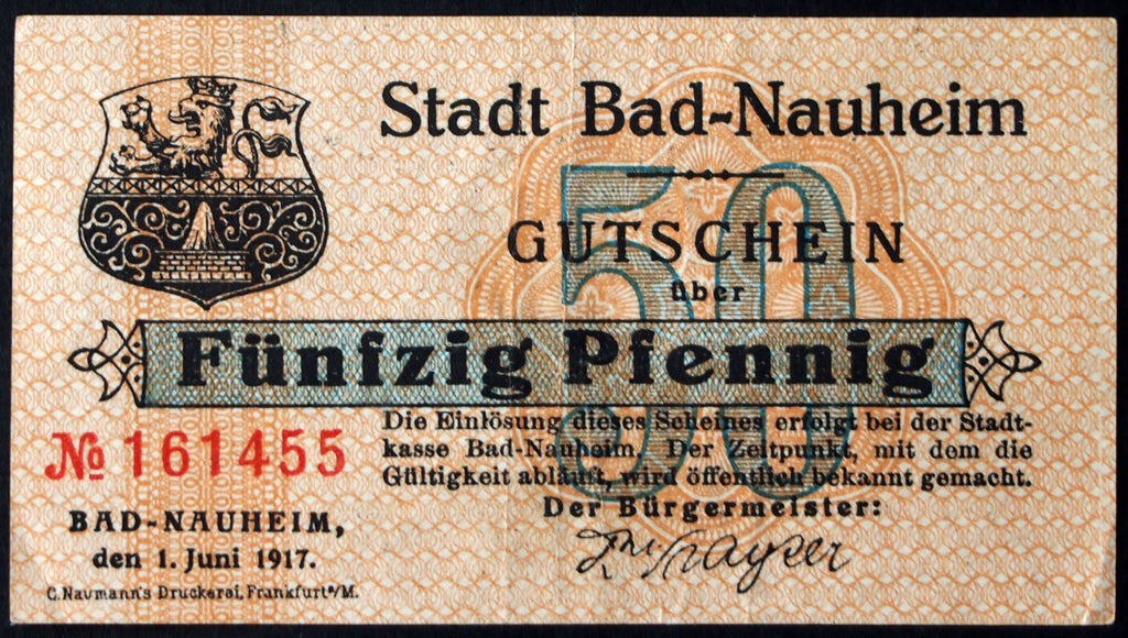 BAD NAUHEIM 1917 50 Pf rarer horizontal serial circulating German Notgeld