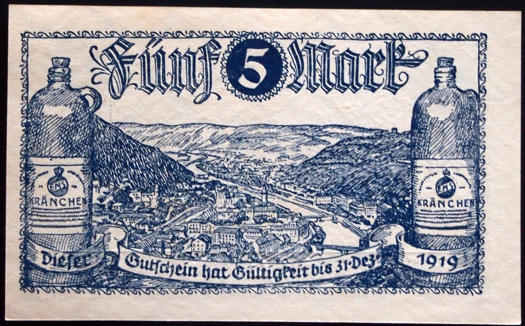 BAD EMS 1918/1922 5 Mark Grossnotgeld German Notgeld Banknote