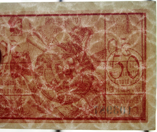 "FÜSSEN 1918 ""German Soldier vs. Hydra"" red 50 Pf entwined circles watermark Notgeld"