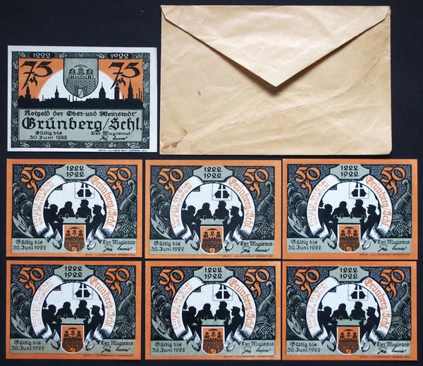 "GRÜNBERG 1921 ""Witch Burning"" complete set + RARE Robert Ball envelope! German Notgeld"
