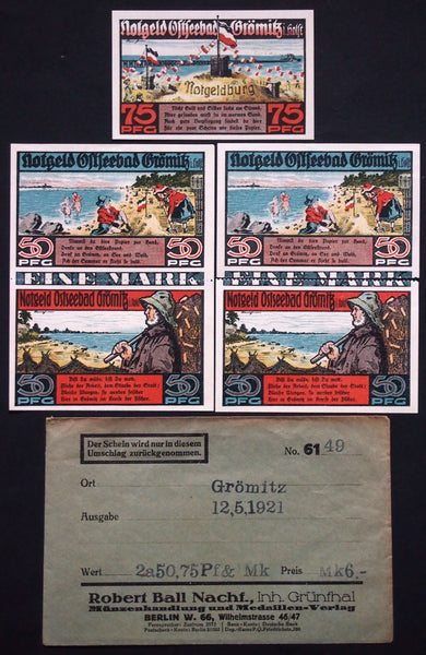 "GRÖMITZ 1921 ""Notgeld Sand Castle"" + RARE Robert Ball envelope! Germany"