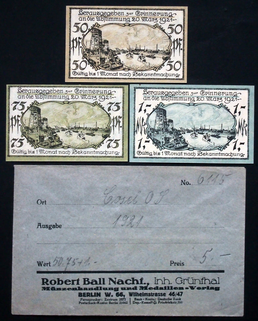 COSEL 1921 complete series + RARE Robert Ball envelope! German Notgeld today Poland